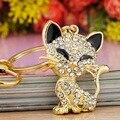 Pretty Cute Cat Enamel Crystal HandBag Keyring Keychain For Car Purse Bag Buckle key holder K168