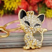 Roztomilá krystalová kočička – přívěsek na klíče pro ženy