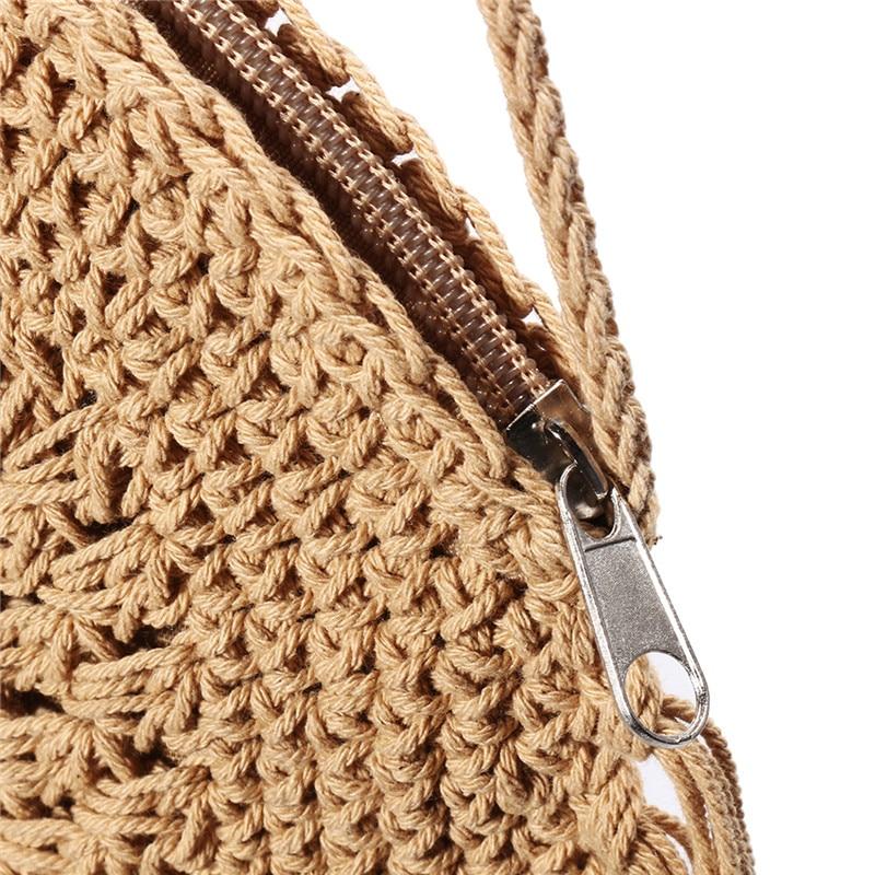Round Straw Bag with Fringe Tassel 5