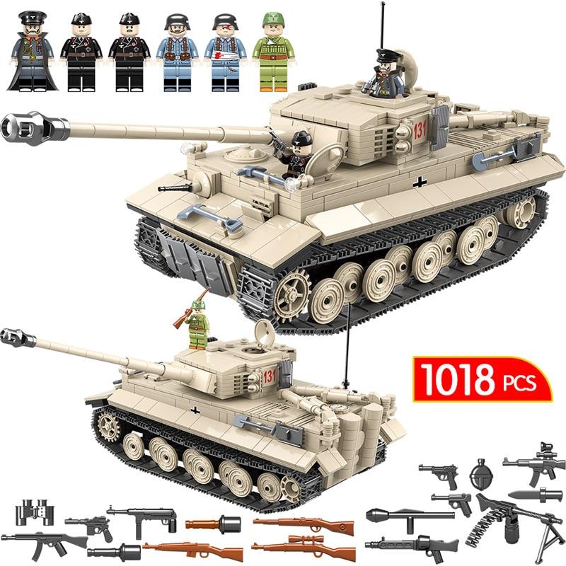 1018 pcs Militaire Réservoir WW2 Blocs de Construction Compatible Avec Légèreté Ville Jedi Réservoir tigre 131 Briques Combattant Armes Jouets Pour garçons