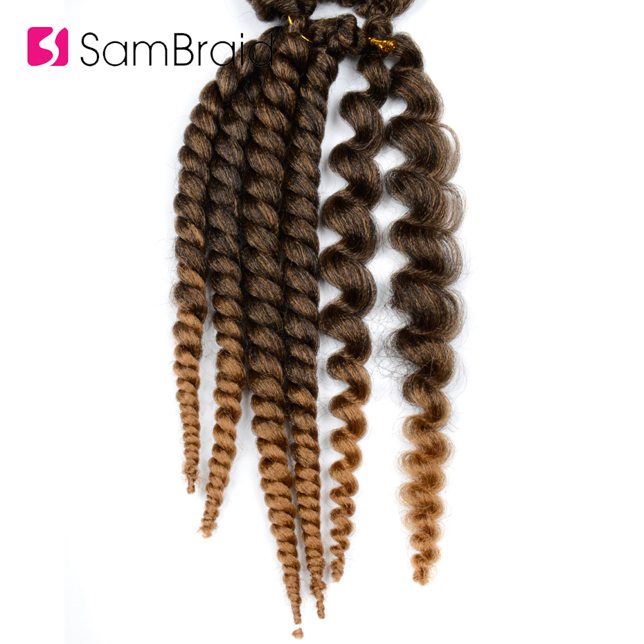 Sambraid Havana Mambo Twist Hair crochet braids Kanekalon Ombre Synthetic Braiding Hair For Black Women 12root/pack 14inch