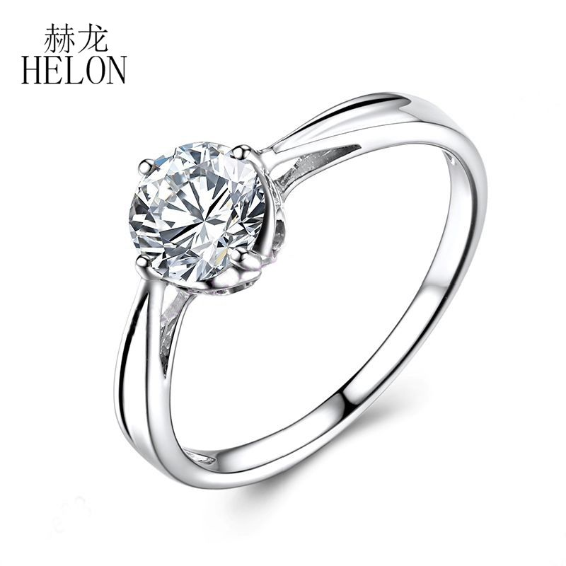 HELON 0.8ct Round Moissanites Ring Solid 10k White Gold 6mm Round Lab Grown Moissanites Diamond Engagement Ring Jewelry Women aeaw lab grown diamond moissanites engagement bangle solid 10k white gold bracelets for women wedding fine jewelry