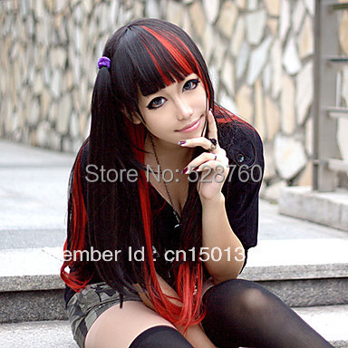 Lolita Wig Inspired by Black and Red Mixed Color 70cm Punk  Free shipping