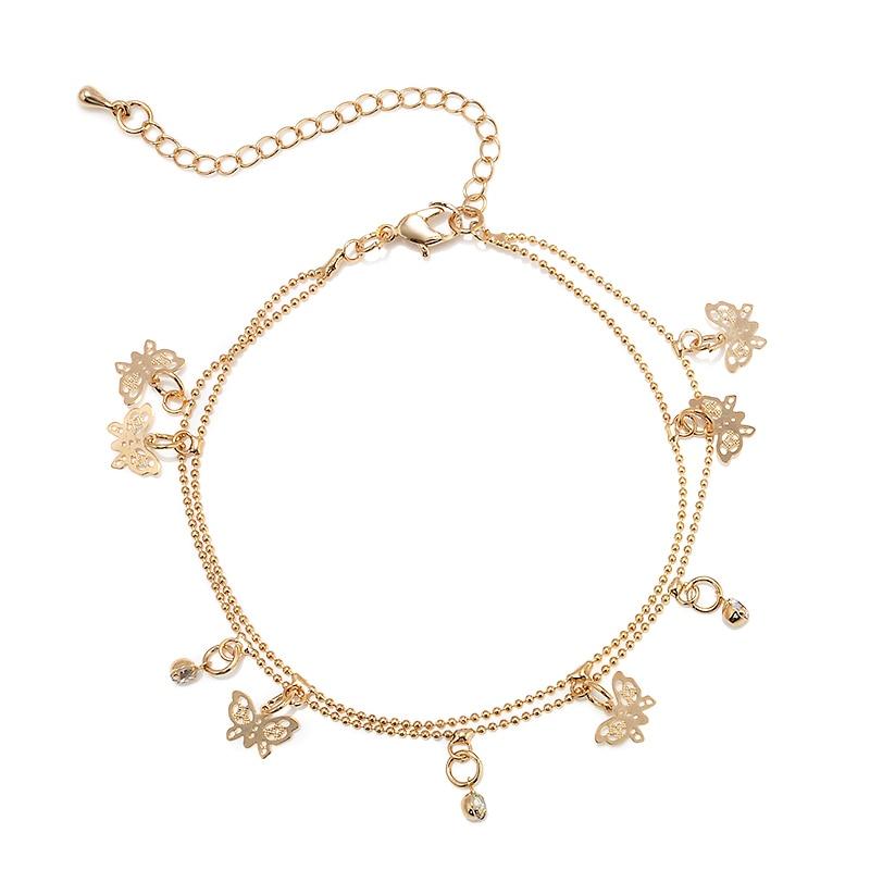 Women Beach Golden Butterfly Pendant Ankle Chain Anklet Bracelet Double Deck Foot Chain Tassel Jewelry Ankle