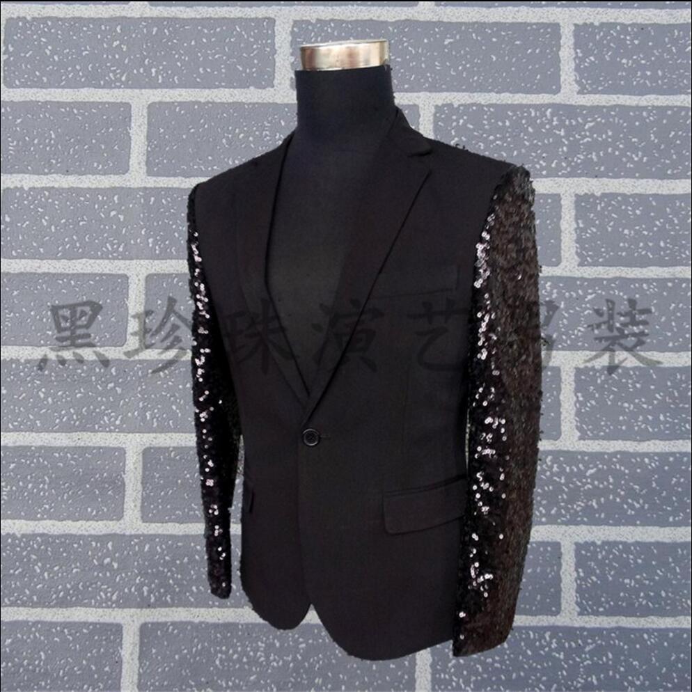 5092402795c8d S 3XL nowy plus rozmiar odzież męska modne cekiny blazer slim czarne ...
