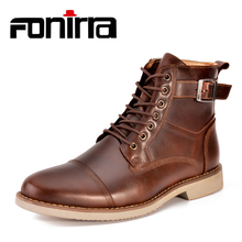 FONIRRA Man High Quality Genuine leather Men Ankle Boots Casual Men Shoes Lace-Up Warm Water Waterproof Motorcycle Boots 936