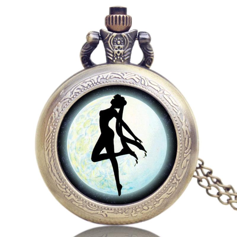 Antique Small Cute Sailor Moon Theme Pretty Soldier Design Case Bronze Quartz Pocket Watch Gift For Women Mens