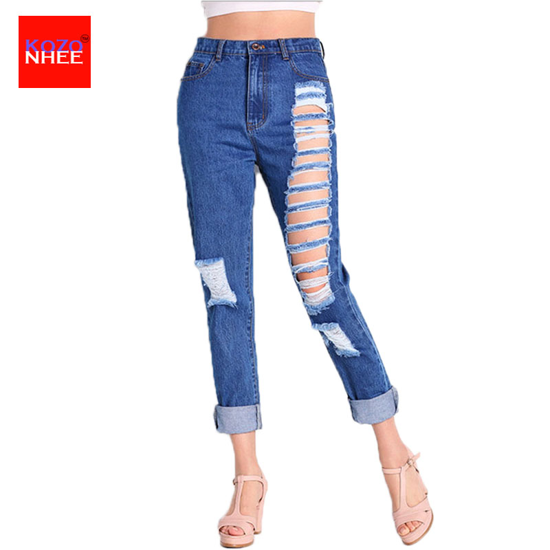 Holes Stretch Boyfriends Ripped Jeans For Women With High Waist Jeans Hole Trousers For Women's Torn Jeans Large Size