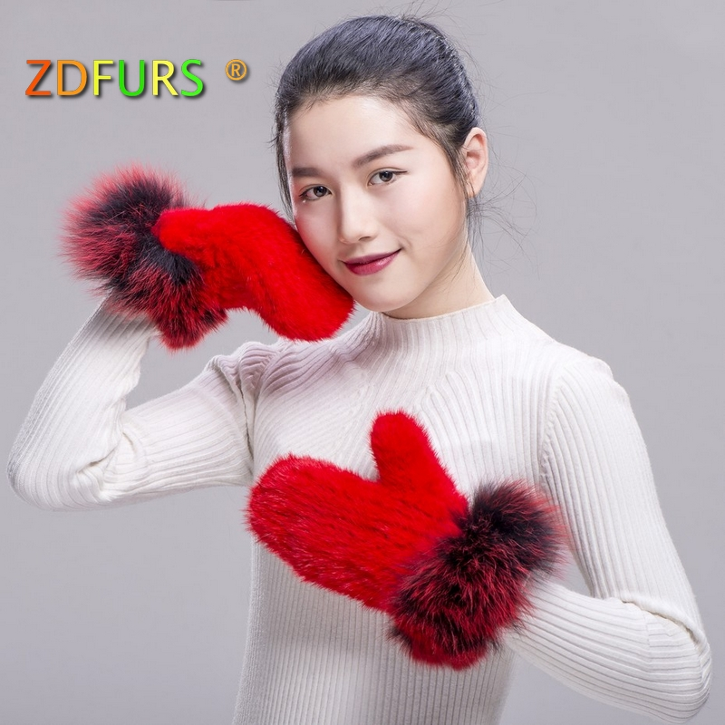 Zdfurs* 2018 Genuine Mink Fur Gloves With Fox Fur Trims Patchwork Gloves Women Colorful Warm Thick Ladies Mittens Removing Obstruction Apparel Accessories