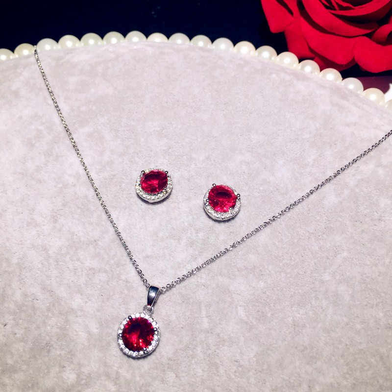 S925 Sterling Silver Fine Jewelry Sets For Women Vintage Ruby Stud Earrings Necklace Pendant Round Cubic Zirconia Accessories