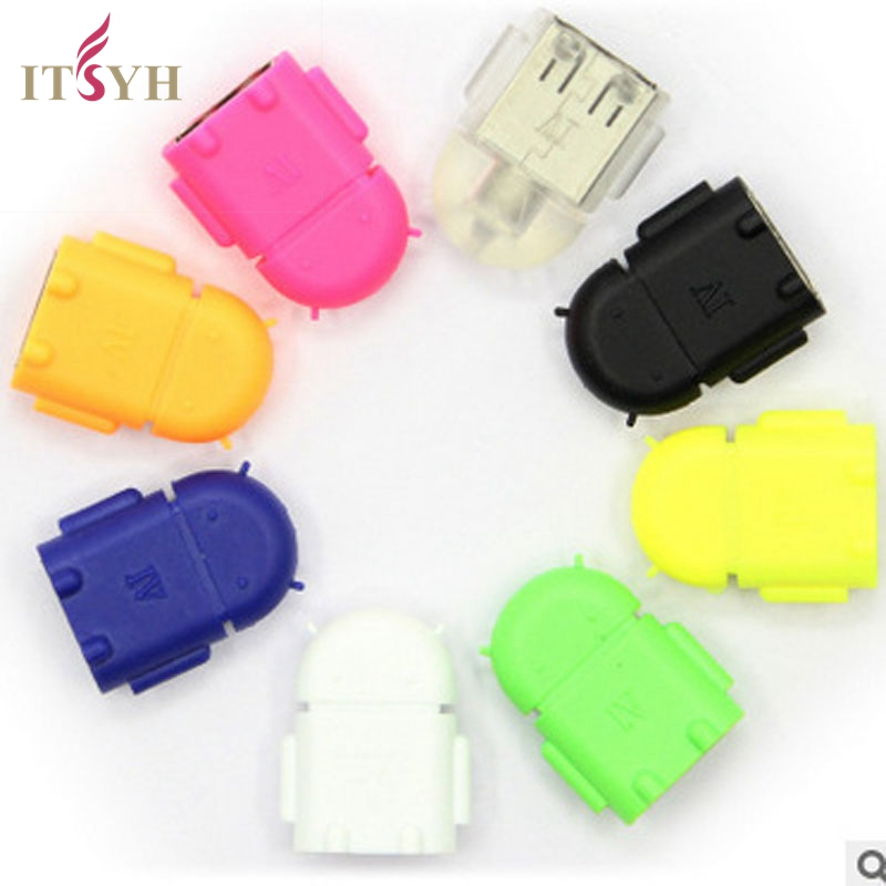 ITSYH Micro USB To USB 2.0 Converter OTG Adapter Multi color Option Robot Shape Android For Samsung Galaxy S3 S4 S5 TW-243 usb to micro usb data charging cable w blue led light for samsung s4 s3 n7100 i9100 red