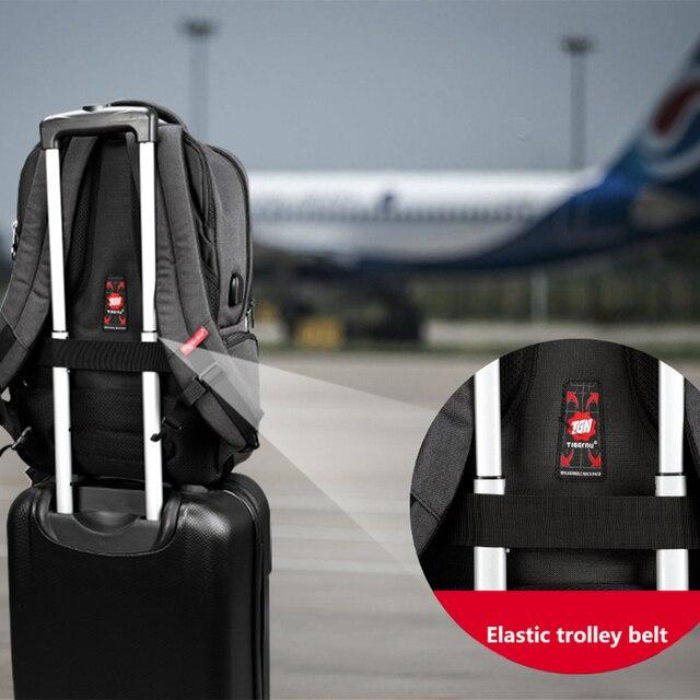 Waterproof Anti Theft Tigernu 15.6inch Laptop Backpack  Men Women Backpacks Slim School Bags Bagpack for Teens Black Grey 2