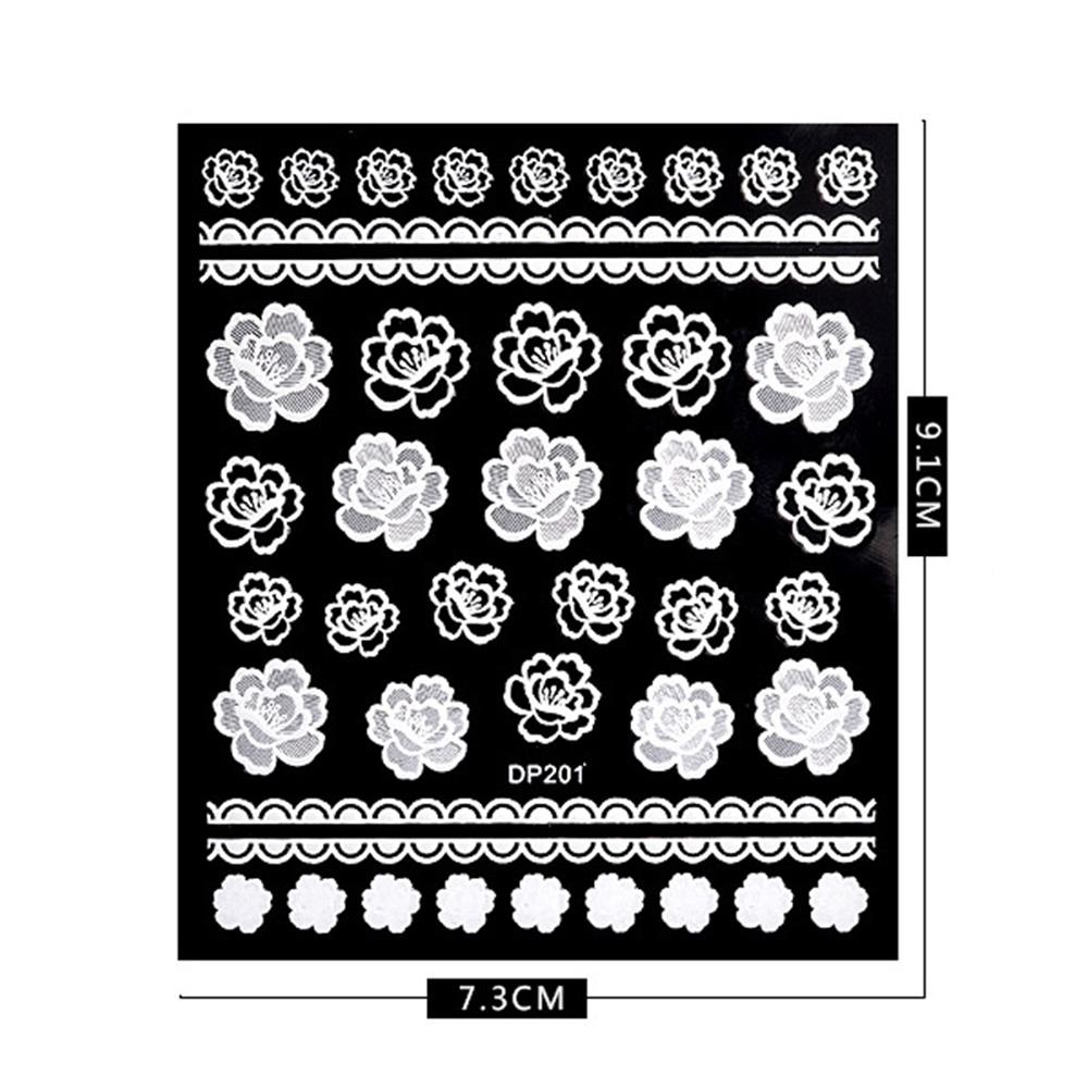 1 Sheet White Flowerlace 3d Nail Art Stickers Decals Embossed
