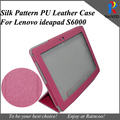 """Brand New S6000 stylish 3 folding leather case,high quality silk PU Leather purse pouch Cover for Lenovo Ideapad 10.1"""" s6000"""