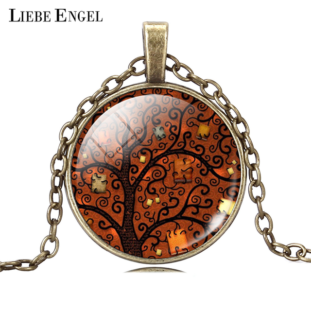 Life Tree Pendant Necklace Art Glass Cabochon 4