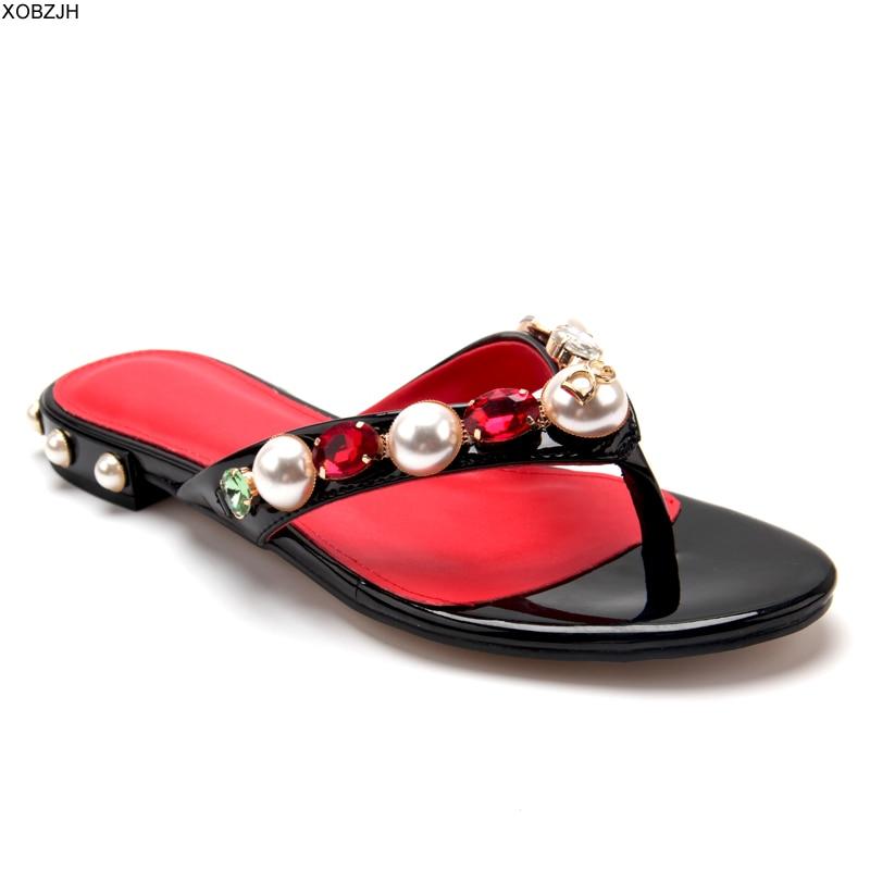 Italian Brand Flip Flops Women Flat Sandals Summer Shoes 2019 Designer Rhinestone Beach Luxury Woman Slippers US11