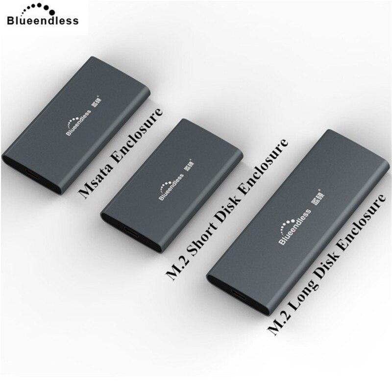 Blueendless Hdd Station D'accueil 2242/2260/2280 M.2 SSD Cas En Aluminium 2.5 Msata USB 3.0 Externe Hdd Caddy Boîte nas Boîtier