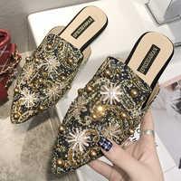 Luksusowe damskie muły damskie letnie chińskie kapcie damskie buty 2019 nowe niskie obcasy codzienne buty klapki damskie buty damskie