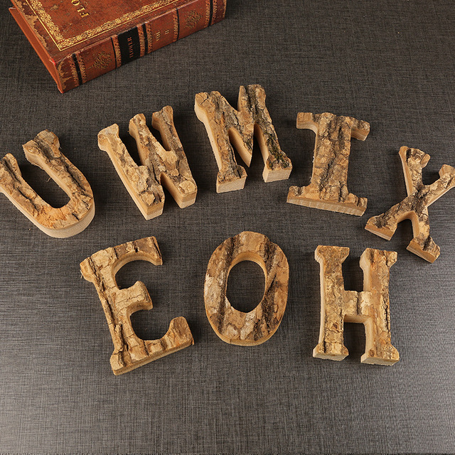 Home Decor Vintage Natural Wooden Letter 26 Wood English Alphabet Letters Home Wedding Party Tools Decoration DIY 2