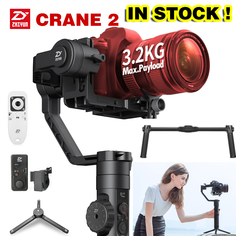 DHL Zhiyun Crane 2 3-Axis Brushless Gimbal Stabilizer Handheld Gimbal Dual handle For DSLR camera stabilizer PK crane2 x cam sight2 2 axis smartphone handheld stabilizer mobile phone brushless gimbal with bluetooth for iphone samsung xiaomi nexus
