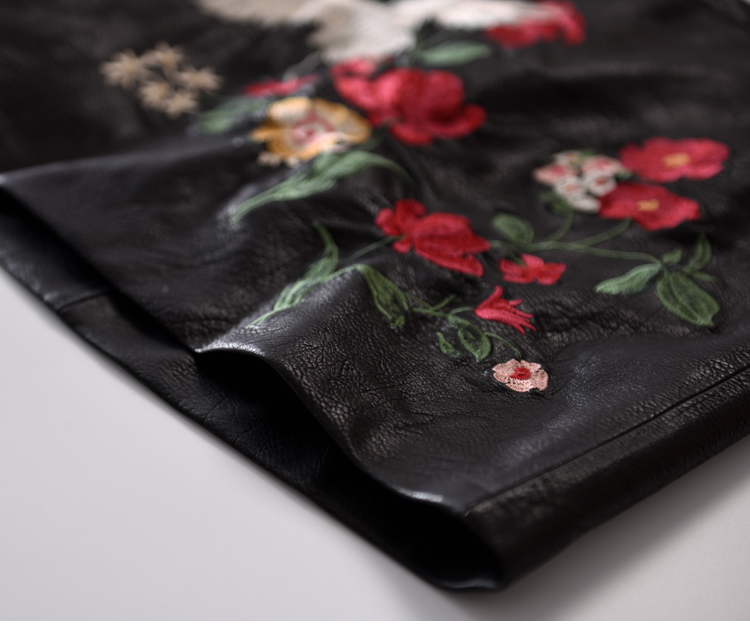 Retro A-Line Kunstleder Rock Neue Frauen Kontrastfarbe Blume Mini - Damenbekleidung - Foto 6
