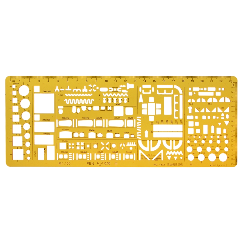 Professional Architectural Template Ruler Drawing Stencil Measuring Tool Student 10166