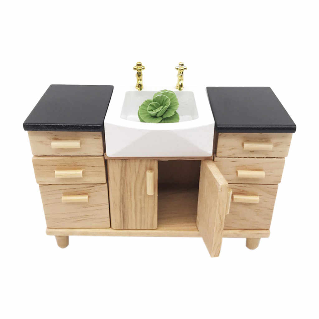 Wooden Kitchen Cabinet Pretend Play Toy 1:12 Dollhouse Miniature Furniture Wooden Kitchen 1set Miniature A513