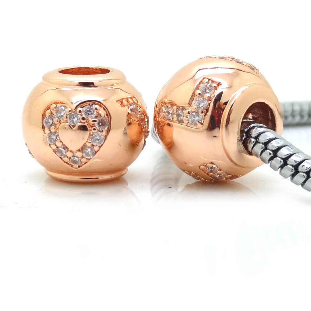 New Rose Gold Color Love Heart Beads With Micro Pave White