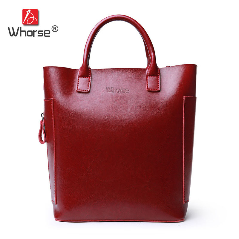 [WHORSE] Brand Luxury Womens Genuine Leather Bucket Bag Large Capacity Women Shoulder Bags Cowhide Casual Tote Handbags W09190 luxury genuine leather bag fashion brand designer women handbag cowhide leather shoulder composite bag casual totes