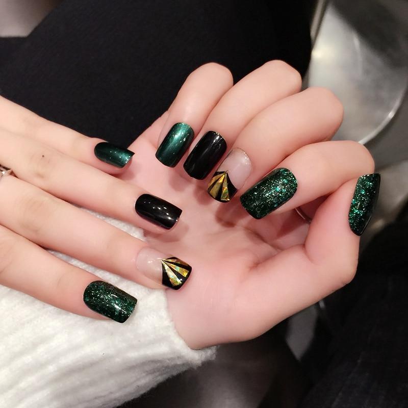 Jade Verde Oscuro Uv Unas Postizas Paillette Brillante Conchas Negro