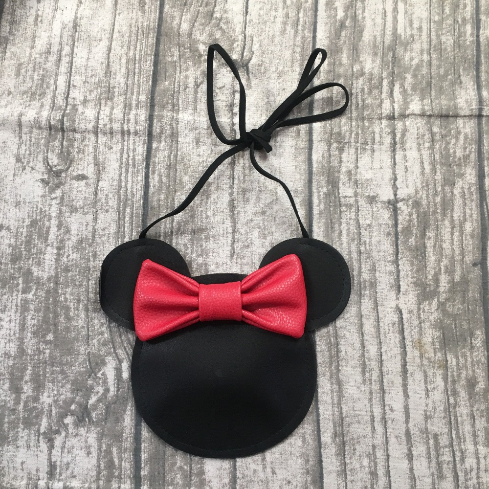 new arrival baby girls mouse purse faux leather accessory matching fashion cute bow black soft