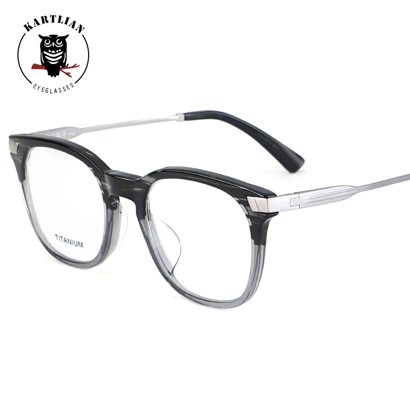3355cf782a glasses men Kartlian retro optical frame custom prescription glasses women  clear lens eyewear lenses Titanium acetate eyeglasses-in Prescription  Glasses ...
