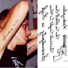 High Qulity Mini Waterproof Pattern Temporary Tattoo Letters Gun Tattoo Stickers Temporary Body Art