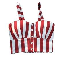 Sexy Womne's Stripe Crop Top Camisole Dill Tank Top Female Cropped Feminino Tops Women Short  Vest plus size S-3XL 32s