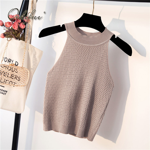Ordifree 2018 Summer Off Shoulder Top Halter Tank Top Camisole Sleeveless Short Tshirt Knitted T-shirt Sexy Crop Top