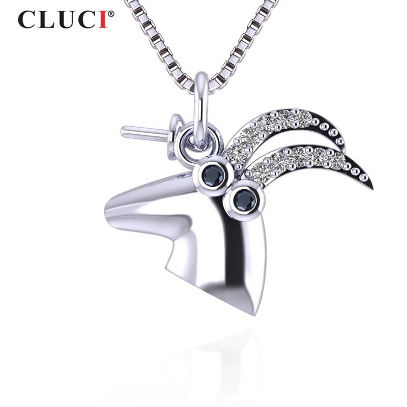 100% QualitäT Cluci 3 Stücke Silber 925 Buckhorn Anhänger Zirkon Edelstein Mode Frauen Halskette Schmuck Echt Sterling 925 Silber Anhänger