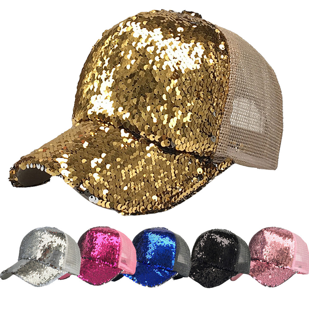 Brave Women Ponytail Hat Women Baseball Cap Sequins Shiny Messy Bun Snapback Sun Casual Caps 130