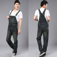 New Fashion Reminisced Men vintage Trousers Casual Jeans FESTA JUNINA loose plus size overalls zipper denim jumpsuit men pants
