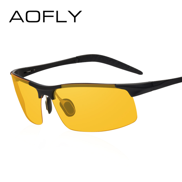 AOFLY Brand Design Anti-Glare Goggles Eyeglasses Polarized Sunglasses Yellow Lens Night Vision Driving Glasses Men Women AF8054