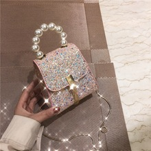 2019 new fashion sequins small square bag simple ins girl sh