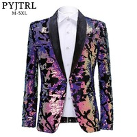 PYJTRL Fashion Purple Colorful Velvet Sequins Blazer Masculino Slim Fit Men Suit Jacket Stage Singer Costume Shiny Blazers