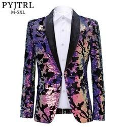 PYJTRL Mode Paars Kleurrijke Fluwelen Pailletten Blazer Masculino Slim Fit Mannen Pak Jas Podium Zanger Kostuum Shiny Blazers
