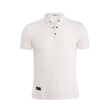 Jeetoo High Quality Mens Solid Polo Shirt Short Sleeve Slim Fit Shirt White Fashion Turn-Down Collar Breathable Men Clothing