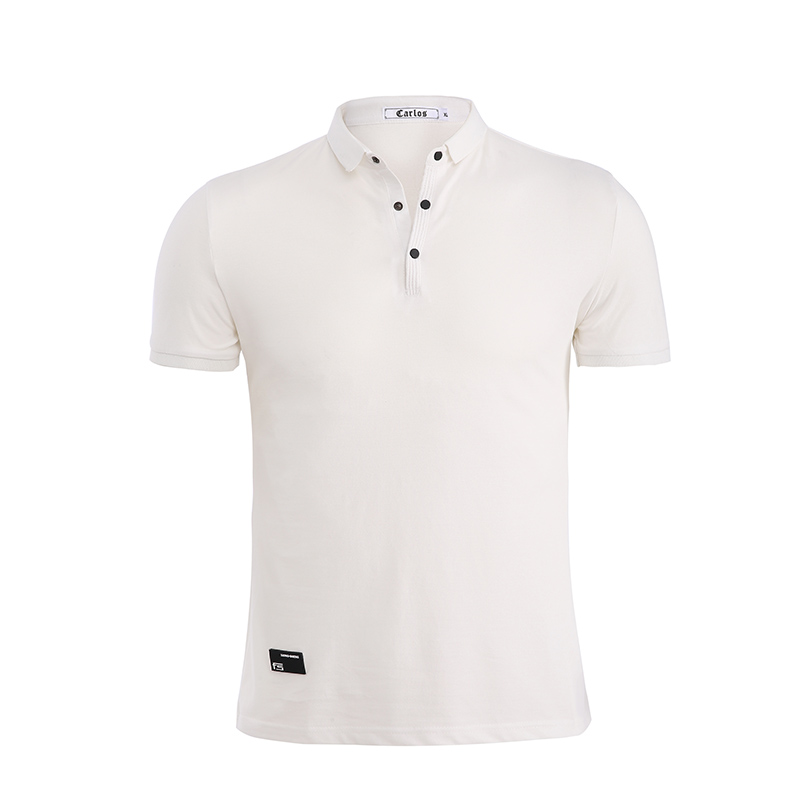 Jeetoo High Quality Mens Solid   Polo   Shirt Short Sleeve Slim Fit Shirt White Fashion Turn-Down Collar Breathable Men Clothing