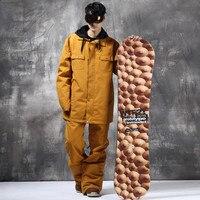 Men Women Winter Ski Suit Jacket Pants Set Warm Waterproof Breathable Skiing Snowboard Hooded Jacket Suit