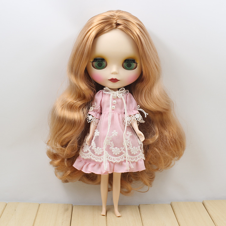 260BLKN1533/F8112513matte face brown curly long hair no bangs central cut normal body nude doll suitable for change DIY purple curly long hair with bangs normal body nude doll suitable for change diy 280bl732 117