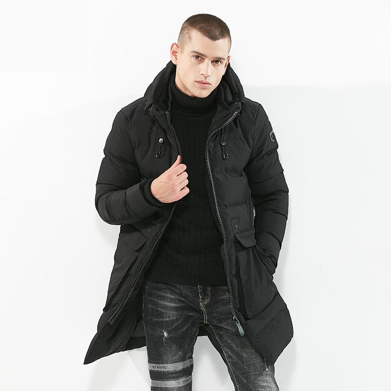 2017 Brand Luxury Winter Men Jackets Male Fashion Hooded Cotton Padded Slim Fit Thicken Warm Parkas Man Casual Black Clothing