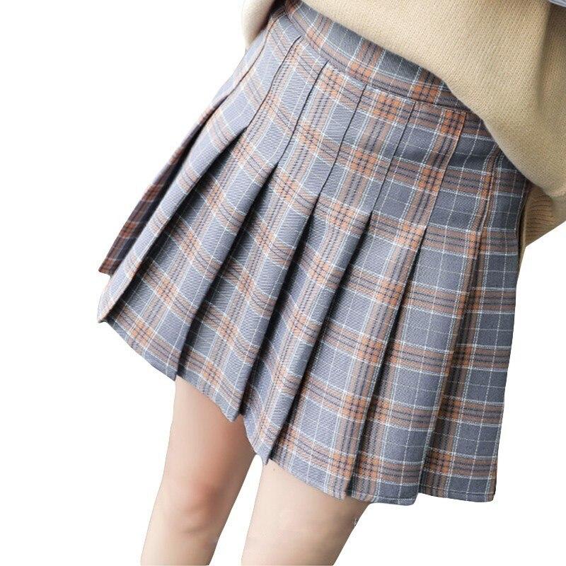 bcf6234671a76 Women Pleat Skirt Harajuku Preppy Style Plaid Skirts Mini Cute School  Uniforms Ladies Jupe Kawaii Skirt