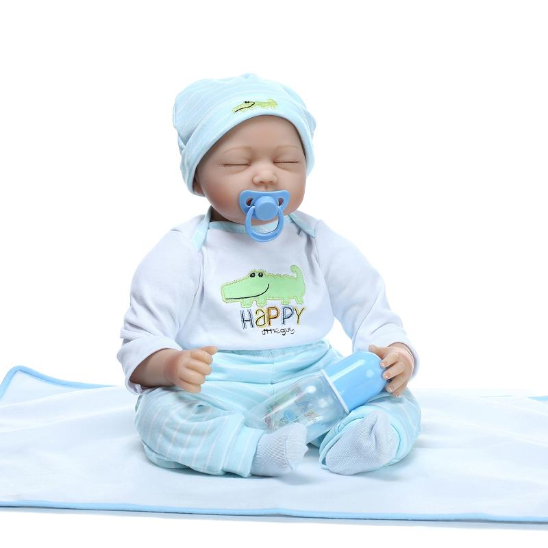 55CM Soft Vinyl Baby Dolls Reborn Kid's Toys Doll Sleeping Baby Children's Educational Toys Children's Gift Newborn Dolls Gifts 25cm hot cute plush sleeping baby doll newborn calm dolls soft bunny rabbit toys sleep mate placate baby toys gifts