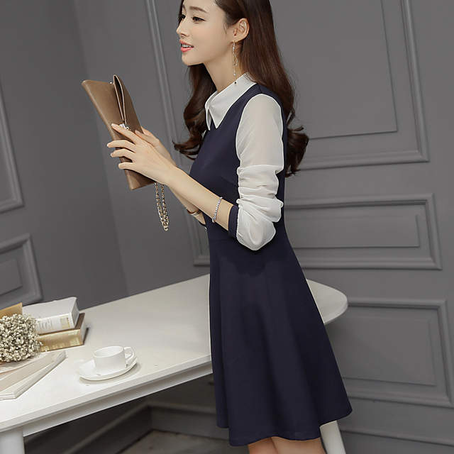 6330adfb5e0 placeholder 2016 Spring Women s Medium-long Blue Dress White Collar Cute  Peter Pan Collar Plus Size